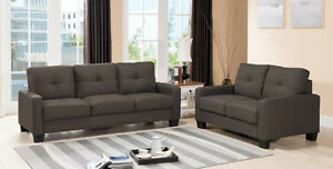 Modern Style Cocoa Fabric design Sofa + Loveseat for Living room