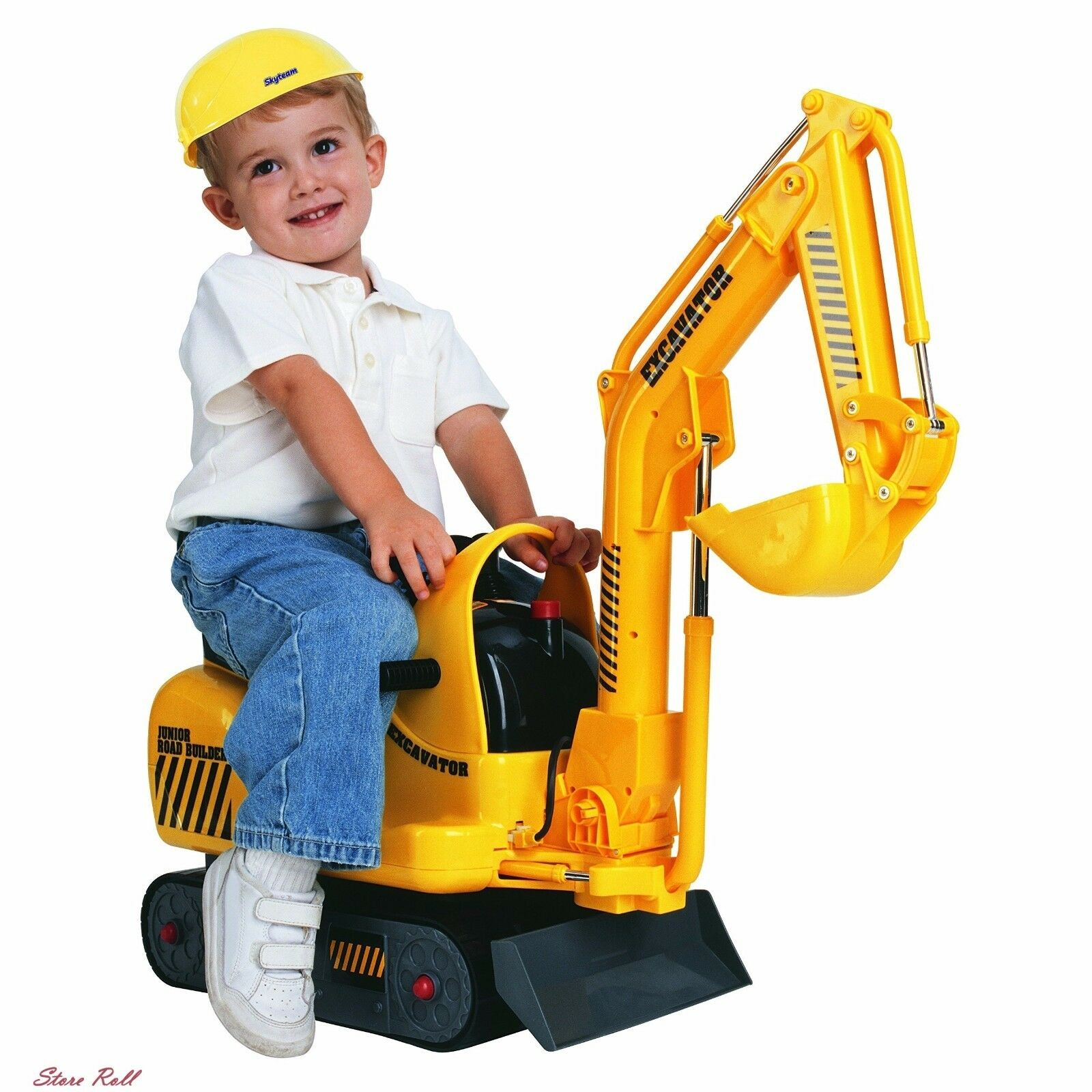 Mini Excavator Outdoor Toys for Toddlers Road Construction Ride Battery Powerosso