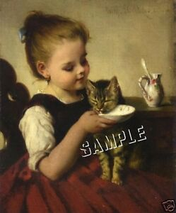VICTORIAN-Girl-034-FEEDING-KITTEN-034-Cat-CANVAS-Art-LARGE