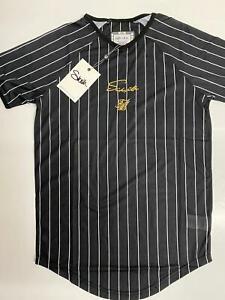 Disenador-para-hombre-Manga-corta-Sik-Seda-SikSilk-King-Camiseta-Gimnasio-Camiseta-Negra-A-Rayas