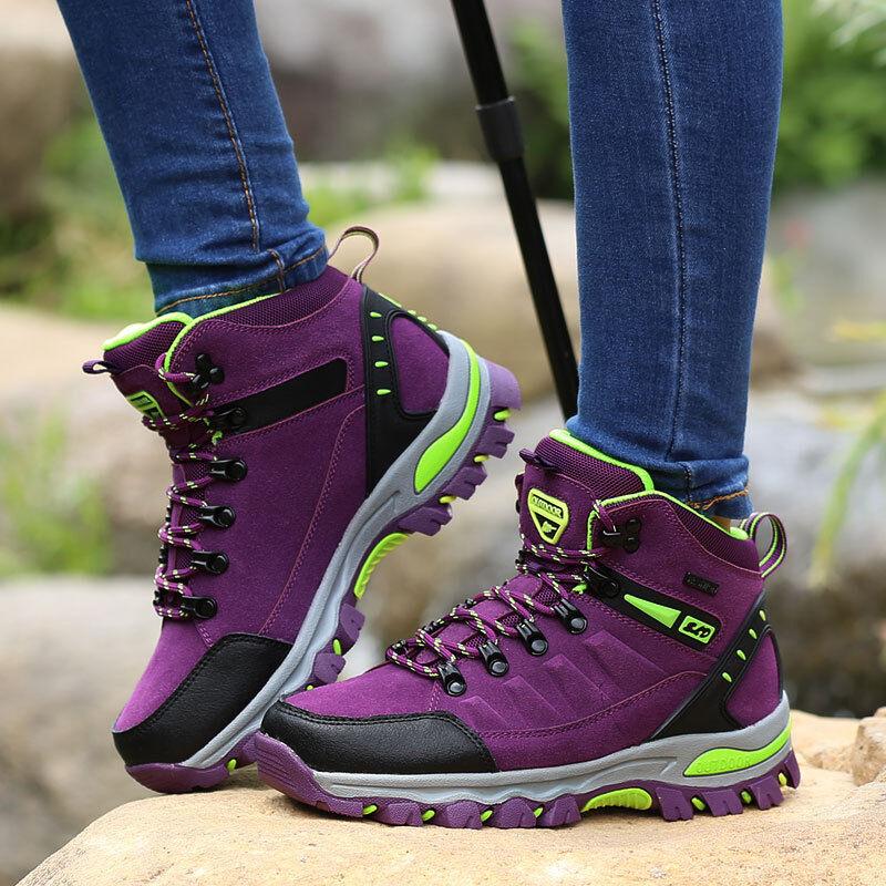 Women Purple Outdoor Walking Boots Waterproof Walking Trail Hiking Wild Camping