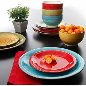 Multi Color Dinnerware Set Kitchen Dinner Ware Plates Bowls Bowl 12 Pcs Ceramic