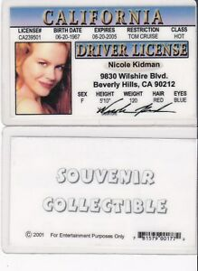 Actress-Nicole-Kidman-Collectible-card-Drivers-License-fake-id-card