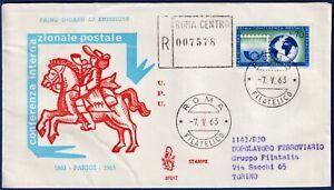 1963-FDC-Venetia-Conferenza-Postale-Viaggiata-per-raccomandata-n-201It
