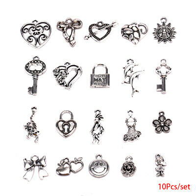 10x Alloy Pearl Flower Necklace Bracelet Pendants Charms for Jewelry Making