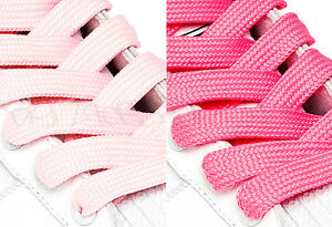 FAT-WIDE-FLAT-PINK-SHOE-LACES-SHOELACES-11mm-wide-3-LENGTHS-2-SHADES
