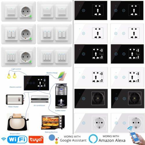 APP Alexa Glas Touch Lichtschalter Wechselschalter Steckdose Schalter Unterputz!