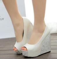 Ladies Wedge Platform Peep Toe Pump Wedding Party Sandal High Heel Shoes Uk Size