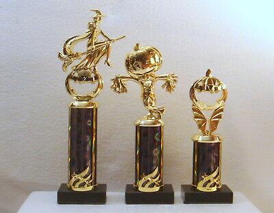 3 HALLOWEEN TROPHIES  PUMPKIN SCARECROW WITCH  SCARECROW  TRUNK OR TREAT ##18