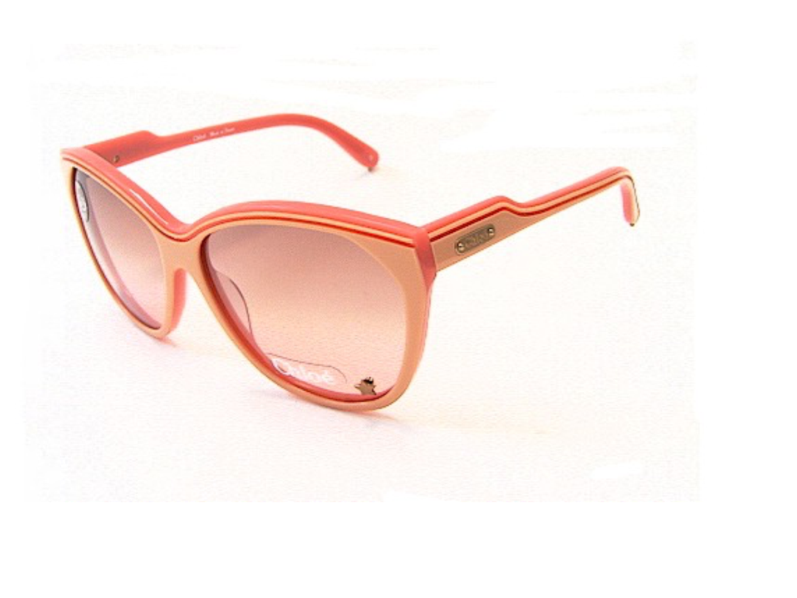 CHLOE Womens CL2181 Pink Plastic Sunglasses Gold Logo New in Case MADE IN FRANCE