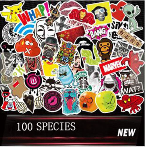 New 50pcs //lot Sticker Bomb Decal Vinyl Roll Car Skate Skateboard Laptop Luggage
