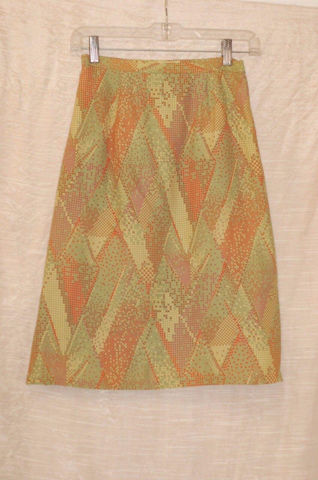 Miss  Green orange Brown Wool Straight Skirt Size 0