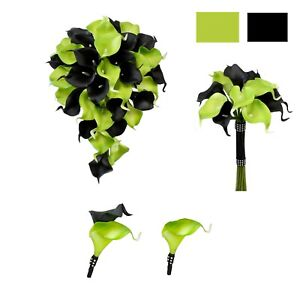 Wedding-Package-Lime-Green-and-Black-Bouquet-boutonniere-real-touch-calla-lily