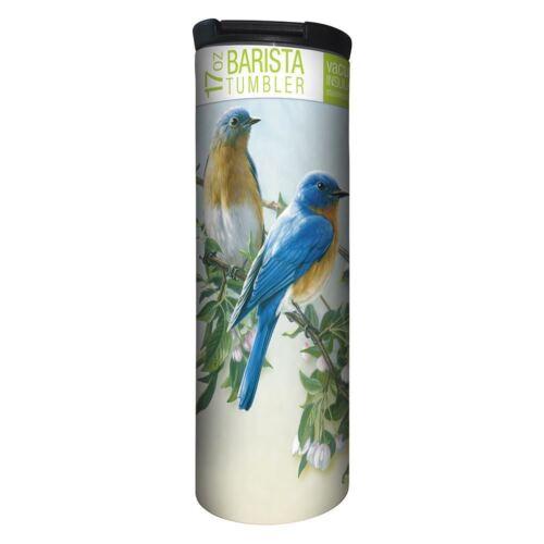 17 oz Stainless Steel Bluebird Branch Barista Tumbler Travel Mug