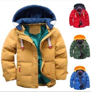 Mode-enfants-VESTE-Avec-Capuche-Parka-Matelasse-Manteau-Garcon-hiver-manteau-Taille-104-146