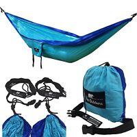 Koki Outdoors - Double Hammock, Lightweight Parachute Nylon (blue) Backpacking