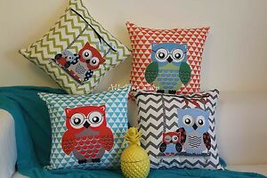 Art-Deco-Green-Red-Aque-Grey-ZigZag-Owl-Kid-Home-Cotton-Cushion-Cover-PILLOW-18-034