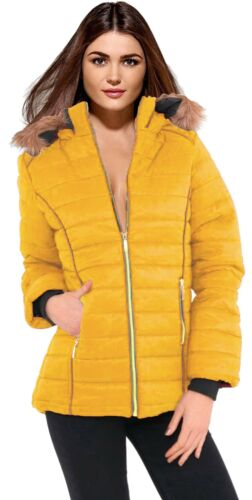 Size 18 New Jacket Gold Zip Pockets Fur Trim Hood Padded Mustard Parker Women