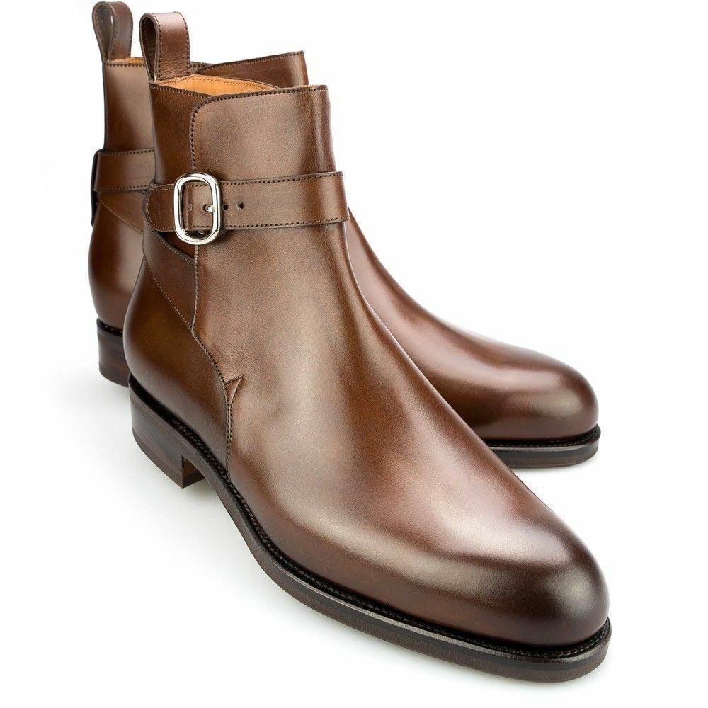 Homme Fait à la main bottes en cuir marron Jodhpurs Sangle Around Cheville Boucle Formel Chaussure