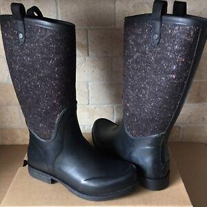 69e0806c6d0 Details about UGG ESTEFANA BLACK WATERPROOF RUBBER RAIN BOOTS FUR INSOLE  SIZE US 10 WOMENS