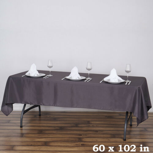 """CHARCOAL GREY 60x102/"""" RECTANGLE POLYESTER TABLECLOTH Wedding Catering Kitchen"""