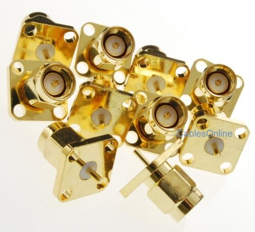 10-Pack SMA Male Panel Mount Gold Solder Post Connector RF Adapters RF-M912-10