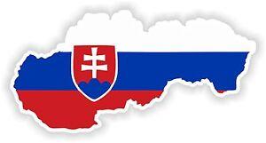 1x Sticker Slovaquie Autocollant Pare-chocs Silhouette Carte Drapeau-afficher Le Titre D'origine