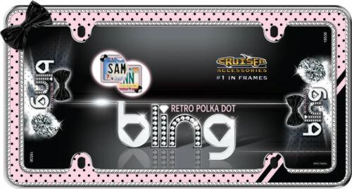 Chrome//Black//Pink Retro Polka Dots Bling License Plate Frame for USA Car-Truck