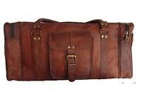 24 Men's Genuine Leather Luggage Gym Weekend Overnight Duffle Bag Large Vintage