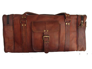 24-034-Men-039-s-genuine-Leather-luggage-gym-weekend-overnight-duffle-bag-large-vintage
