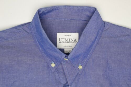 Lumina Mens Dress Shirt M 1735 Blue Soft Cotton Button Down Collar Long Sleeve
