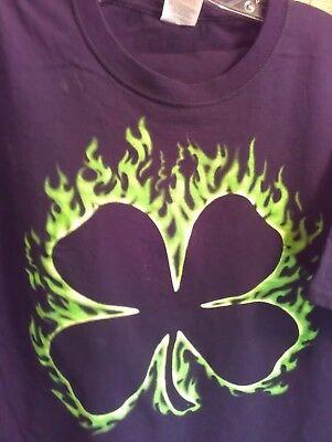 L black T Shirt FLAMING SHAMROCK irish ST PATRICKS DAY holiday PARTY drink GREEN