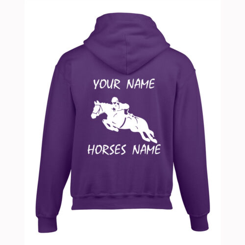 Kids Personalised Horse Hoodie EQUESTRIAN A PERFECT BIRTHDAY GIFT Show Jump