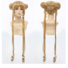 Sailor Moon Tsukino Usagi Clip-In Ponytails Flaxen Gold Cosplay Wig Full Capless