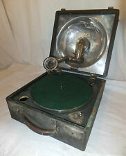 DECCA Portable GRAMOPHONE Player CASED Vintage HORN Wind Up MECHANICAL