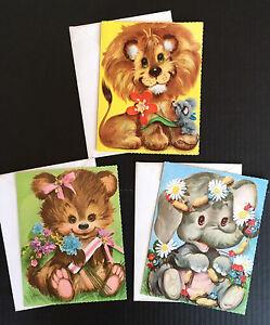 3 Vintage Coby Birthday Greeting Cards w Envelopes, Unused, Lion, Bear, Elephant