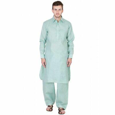 Men/'s Pathani Kurta Pajama Ethnic Suit Cotton Fabric Solid Brown