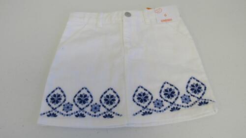 Gymboree Greek Isle Style White Denim Skirt Blue Embroidery Trim Size 6 NEW TL20