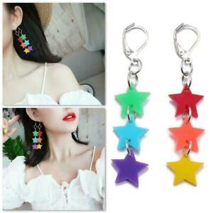 1-Paar-Pentagramm-Ohrringe-Frauen-stilvolle-lange-Quaste-Ohr-Kette-C9M8