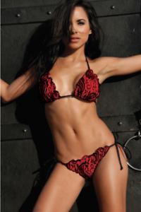 7dc68e194f2 Image is loading Cherry-Red-Lace-Scalloped-Ruffle-Scrunch-Butt-Bikini-