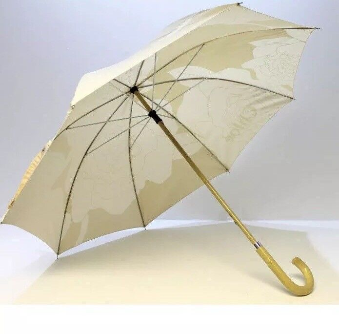 Chloe Parfums Pastel nude And Cream Light Wood Handle Large Umbrella