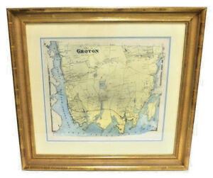 RARE-ANTIQUE-19TH-CENTURY-RESIDENTIAL-TOWN-MAP-OF-GROTON-CT-HAND-COLORED-FRAMED