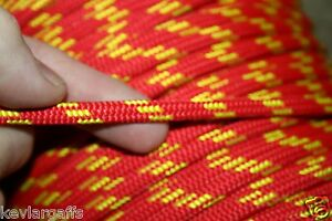 7mm X 50 FEET New England Accesory cord rope RED color with Yellow tracer