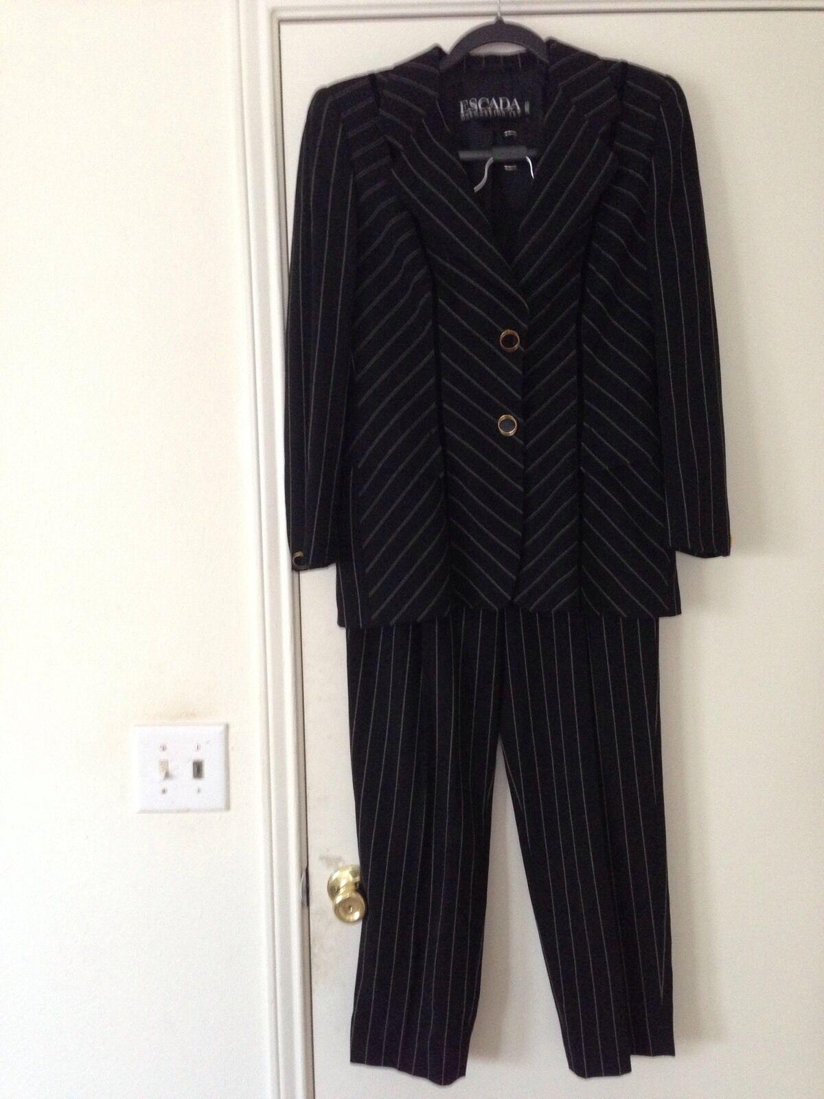 Stunning Escada Margaretha Ley Pinstripe Pant Suit Sz 6 Gernany