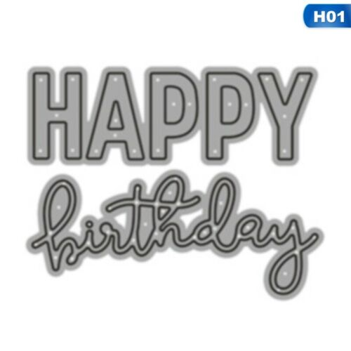 Cutting Dies Happy Birthday Metal Stencil Embossing Scrapbooking Paper Card New