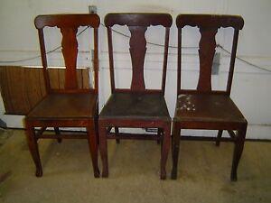 3-Matching-Formal-Tiger-Oak-T-Back-Vase-Back-Dining-Room-Chairs-Old-Finish