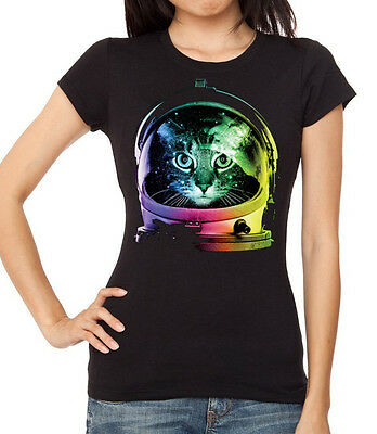 New Junior/'s Space Cat Racerback Tank Top Neon Galaxy Colorful Universe Rave Tee