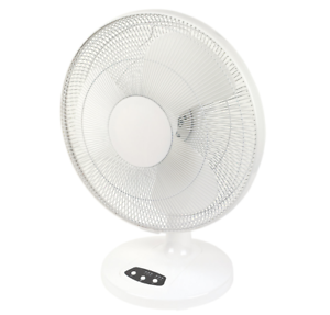 WHITE BLYSS 16 INCH 3-SPEED ADJUSTABLE DESK FAN WITH TIMER FUNCTION