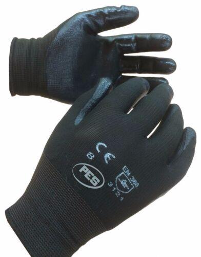 12 pair 3121 Builder Gardening Mechanic TEKNI Nylon Nitrile Palm Coated Glove