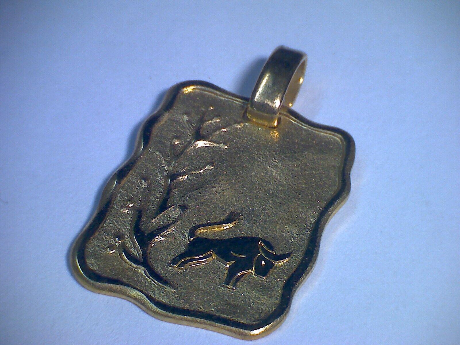 Anhänger Sternzeichen Tierkreiszeichen  Stier , solide Platte in gold 333